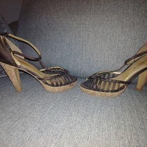 BCBG satin and cork heels